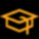 Orange graduation cap outline